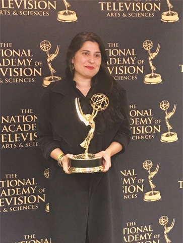 Shar­meen Obaid Chinoy with her Emmy award trophy.—Twitter