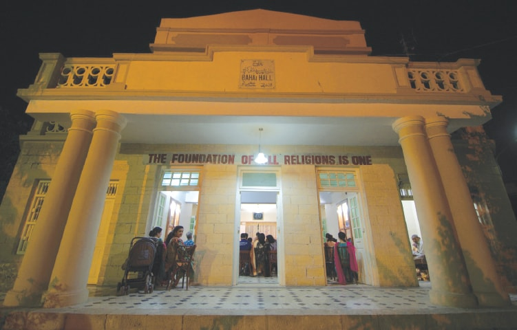 """Written above the entrance of the Baha'i Hall in Karachi are the words """"The foundation of all religions is one"""""""