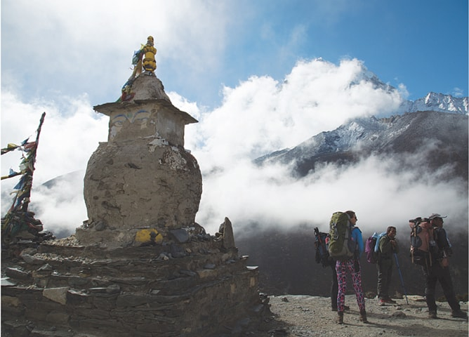 Other trekkers near the stupa at Gorakshep — the last stop before the base camp | Photos by Danial Shah
