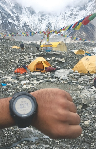 Checking the altitude at the Everest base camp where the mountaineering season was wrapping up
