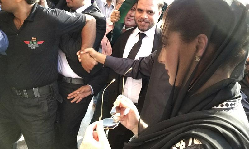 Maryam Nawaz arrives at the court.— DawnNews