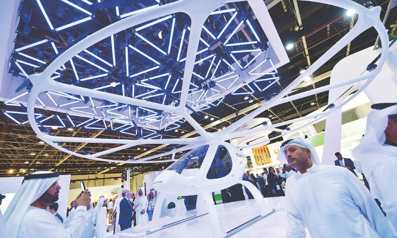 A drone taxi on display at the 37th Gulf Information Technology Exhibition (Gitex) being held in Dubai.—AFP