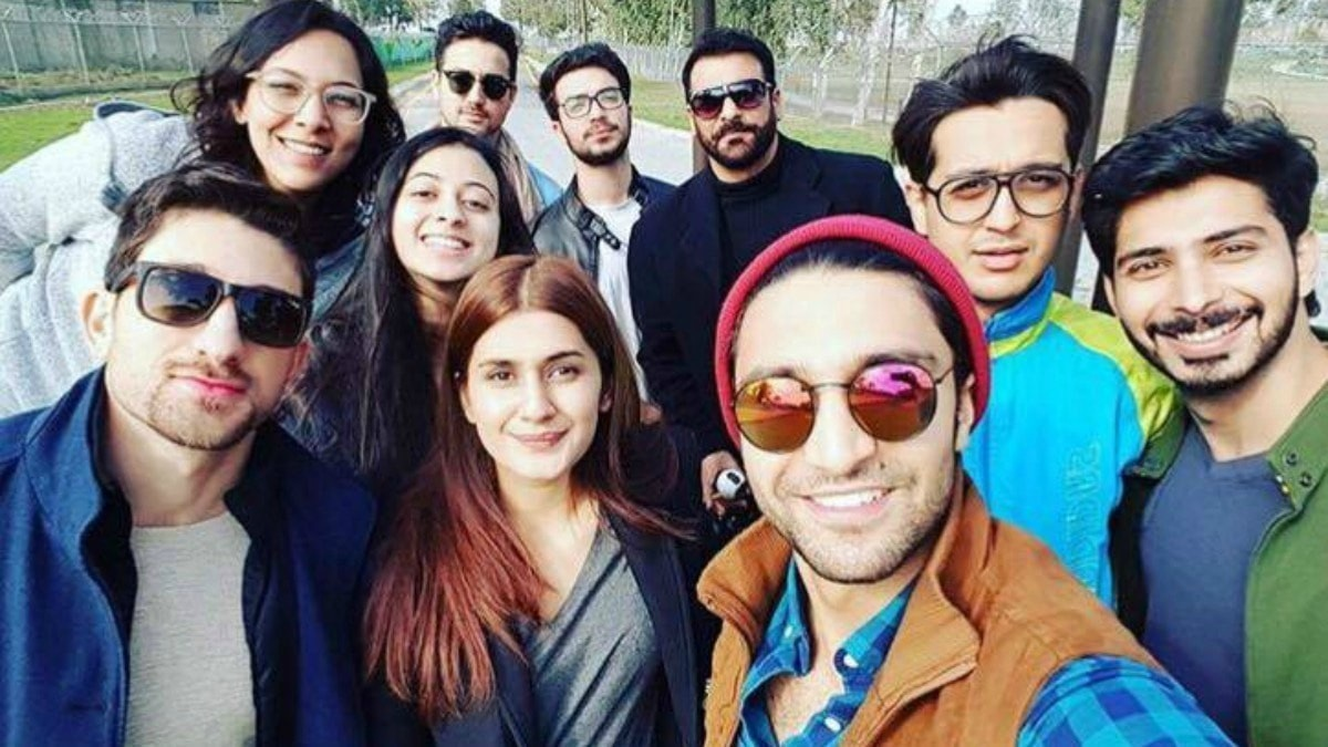 Ahad Raza Mir with some co-stars from his debut film Parwaaz Hai Junoon