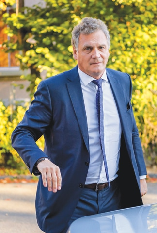 LAUSANNE: French former FIFA secretary general Jerome Valcke arrives at the Court of Arbitration for Sport prior to his appeal against the 10-year ban on Thursday.—AFP