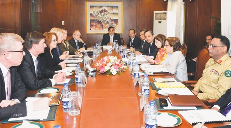 LISA Curtis, US Deputy Assistant to the President and National Security Council Director for South Asia, and other officials hold talks with Foreign Secretary Tehmina Janjua in Islamabad on Thursday.—White Star