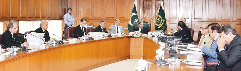 ISLAMABAD: Chief Justice of Pakistan Mian Saqib Nisar presides over a meeting of the Judicial Commission at the Supreme Court on Thursday.—PPI