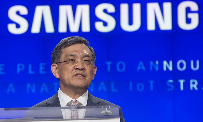 """This file photo taken on June 21, 2016 shows Kwon Oh-Hyun, Vice Chairman and CEO of Samsung Electronics, speaking during the """"Internet of Things: Transforming the Future"""" conference at the Washington Post Live Conference Center in Washington.— AFP"""