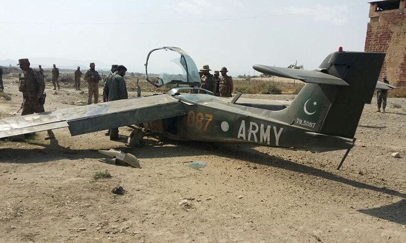 حادثے کا شکار ہونے والا مشاق طیارہ—۔فوٹو/ علی اکبر