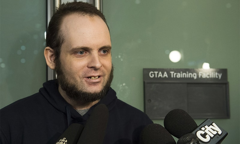 Joshua Boyle speaks to the media after arriving at the Pearson International Airport in Toronto on Friday.— AP