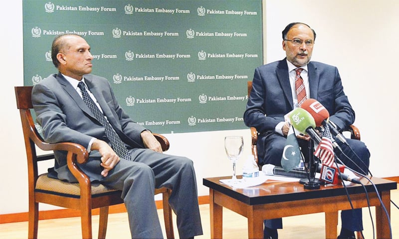 Interior Minister Ahsan Iqbal highlights economic and security gains of Pakistan at a forum titled 'Pakistan's Emerging Economy Future Prospects' held at the Pakistan Embassy on Saturday.—APP