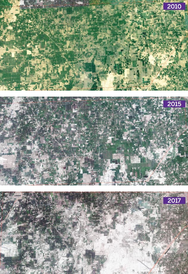 Satellite images of the northern approach to Multan. The green boxes represent tracts of agricultural land, the black areas are mango orchards, and the white spaces show the land that has been cleared for housing purposes   DawnGIS