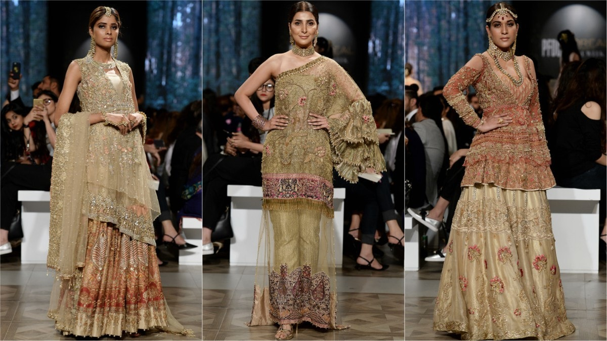 Shiza Hassan presented a profusion of traditional bridal silhouettes with contemporary details