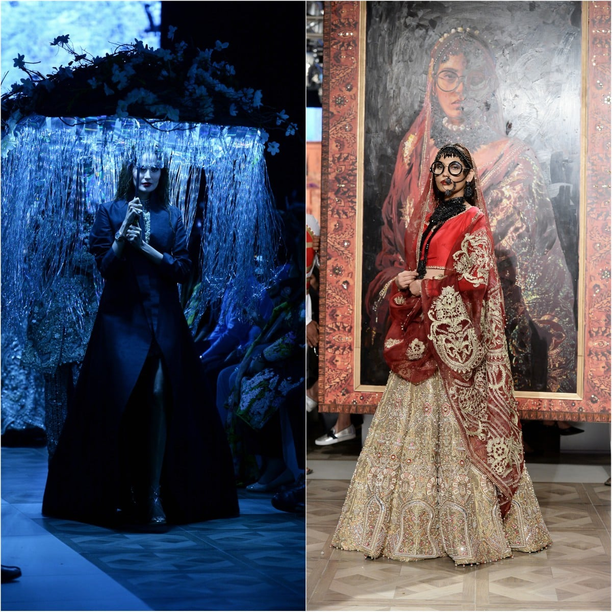 As always, Ali Xeeshan put up a memorable show. The umbrellas gave way to murals that formed the backdrop for wedding-wear