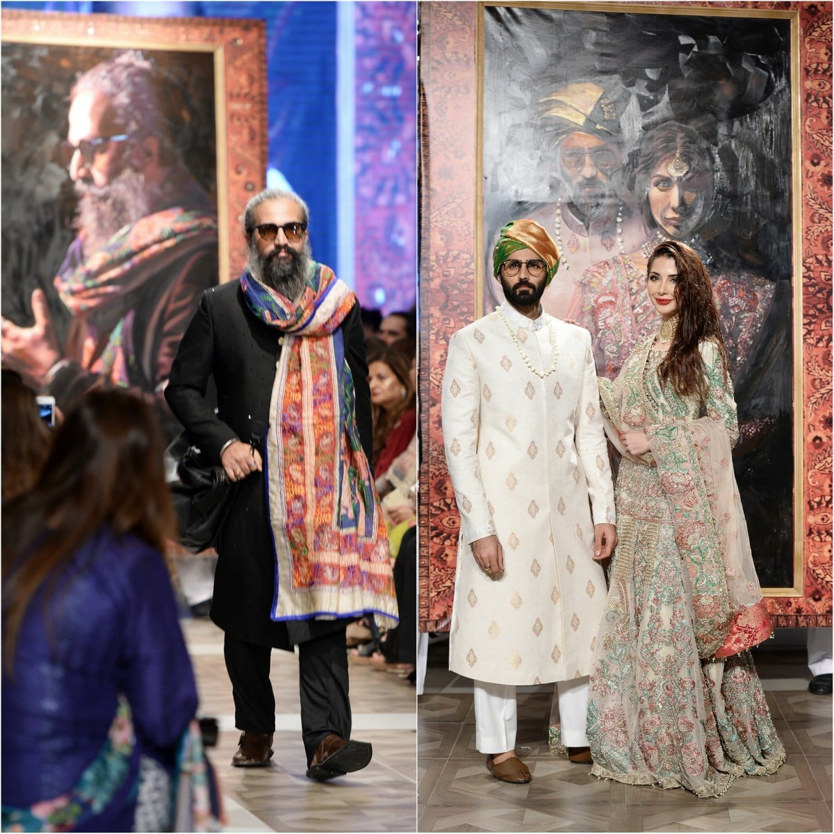 Big portraits loomed behind Hasnain Lehri and Sabeeka Imam and photographer Abdullah Harris, who were showstopper for Ali Xeeshan