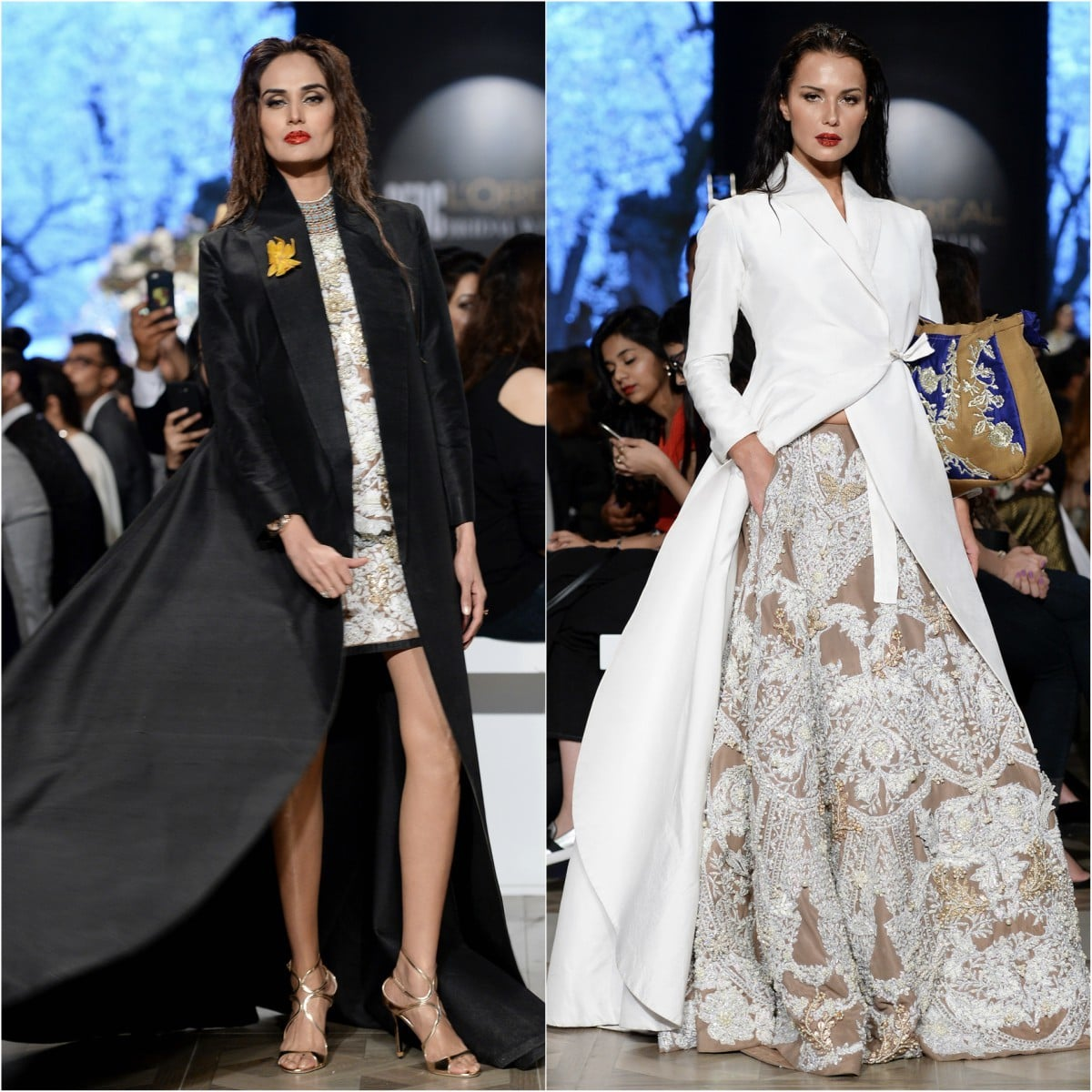 What really caught the eye, though, were the long coats, one in black and the other in white, paired with embellished apparel