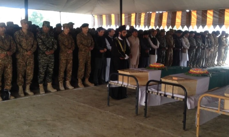 Funeral prayer for the martyred soldiers is being offered at the FC Ground in Parachinar.
