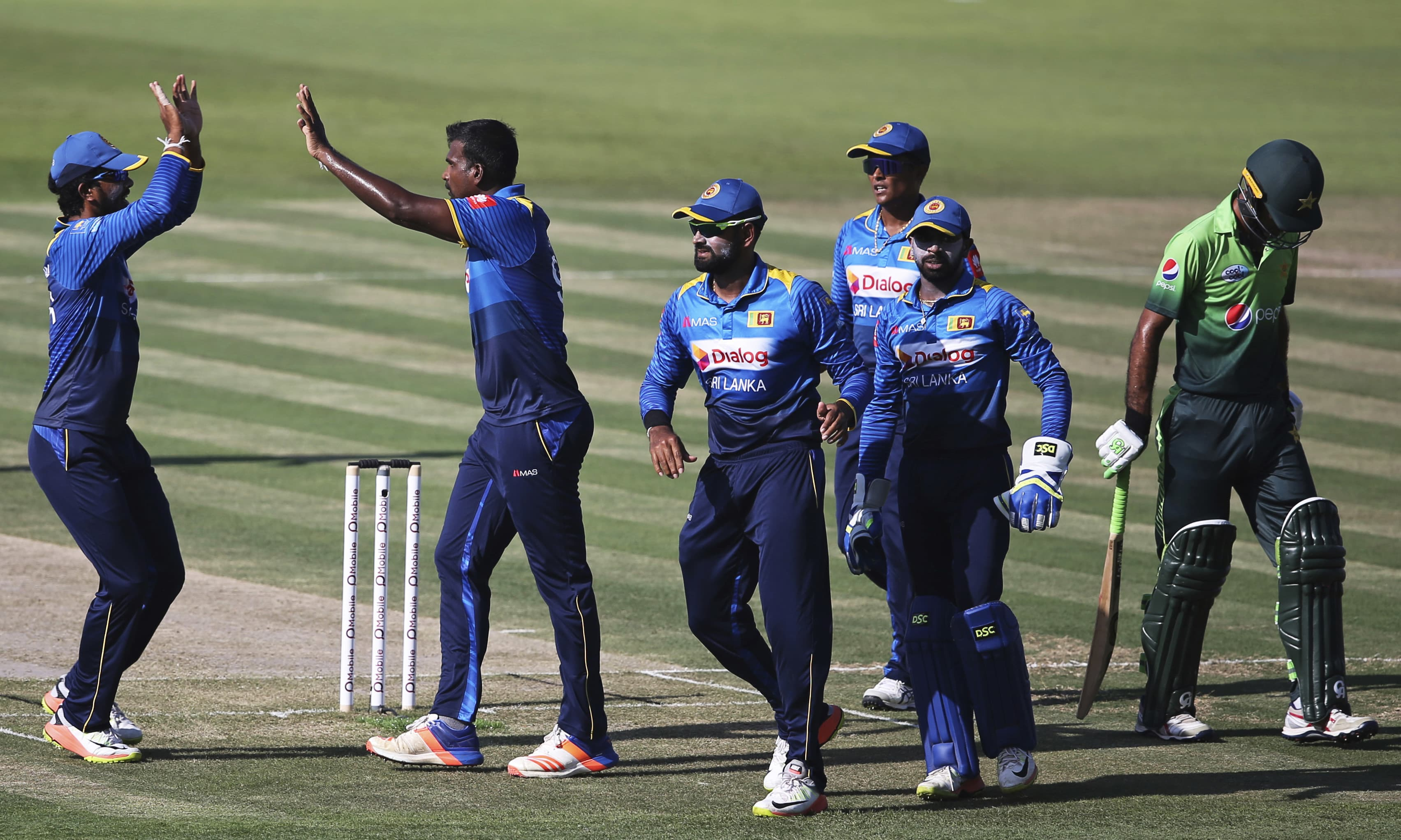 Sri Lanka's bowler Lahiru Gamage and his teammates celebrate the dismissal of Fakhar Zaman during their second ODI cricket match. —AP