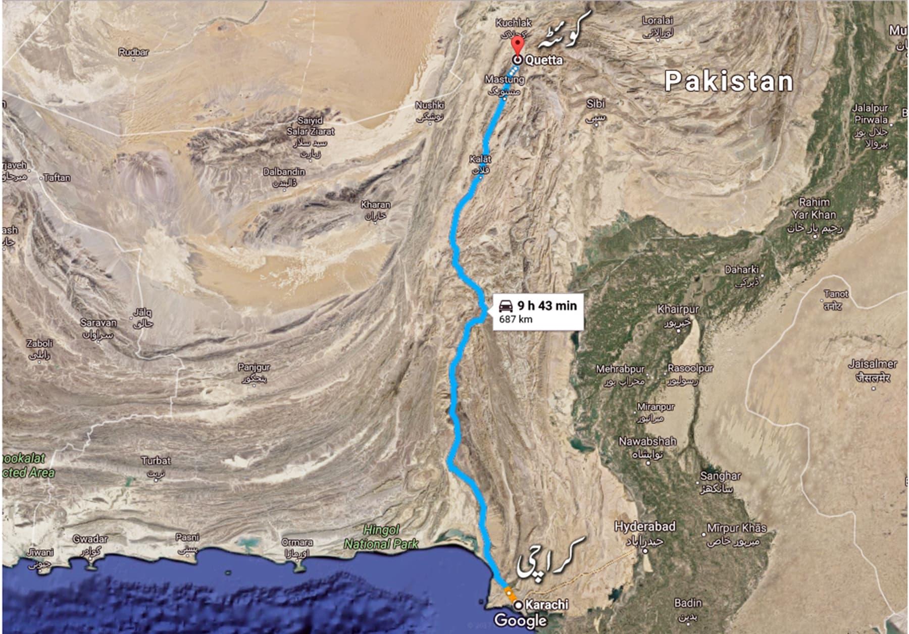 کراچی سے کوئٹہ تک کا راستہ—گوگل میپ
