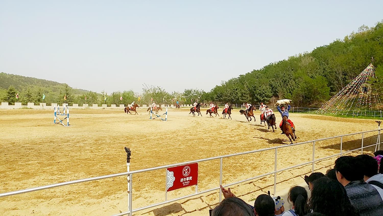 Buzkashi demonstration in Weihai by young Mongol horsemen.