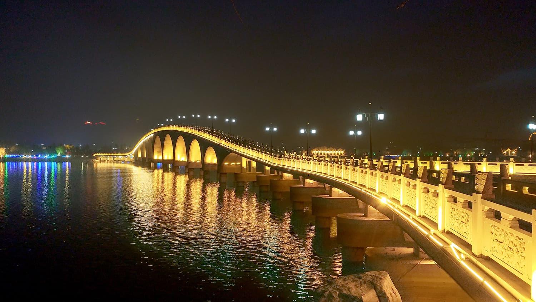 A glittering bridge in Zhaoyuan.