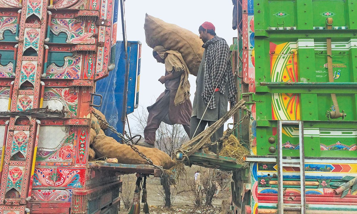 Pakistani labourers shift goods at Kharlachi | Ghulam Dastageer