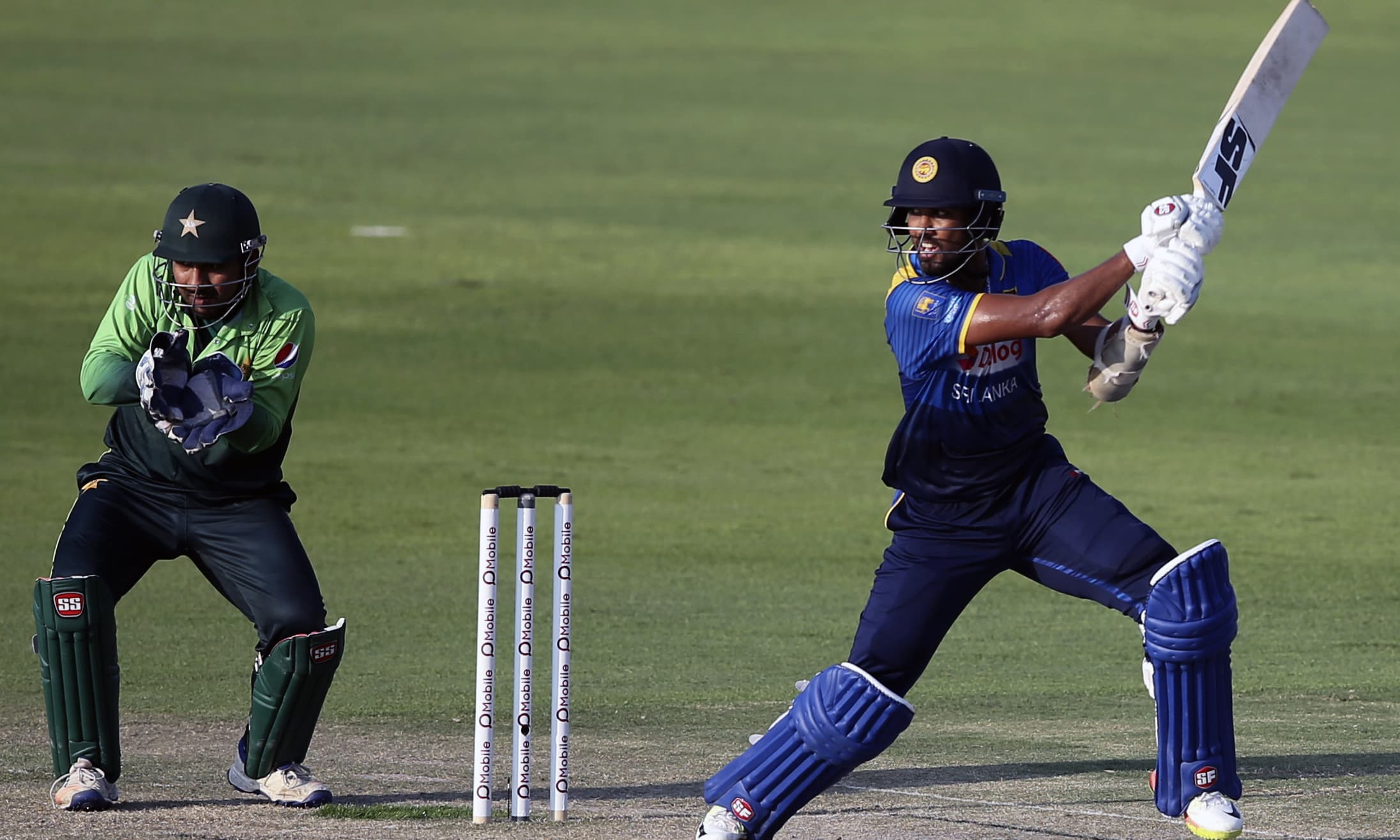 Dinesh Chandimal plays shot during their third ODI cricket match against Pakistan in Abu Dhabi. —AP