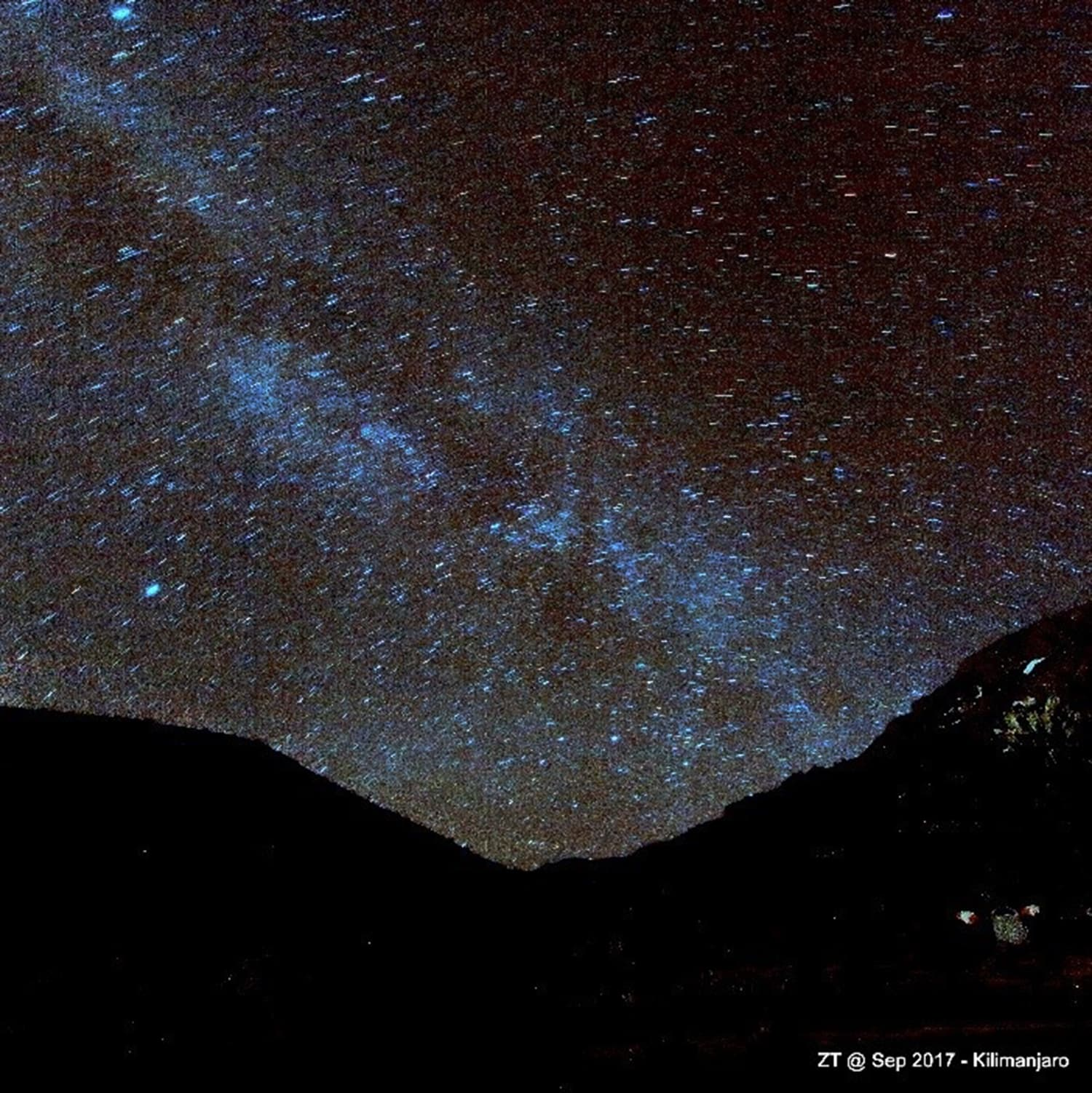 The starry night at the Shira plateau.