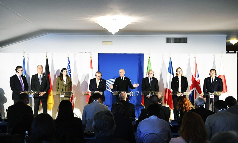 Representatives of the EU and the G7 countries attend the G7 Ministers of the Interiors meeting on the island of Ischia, near Naples.—AP