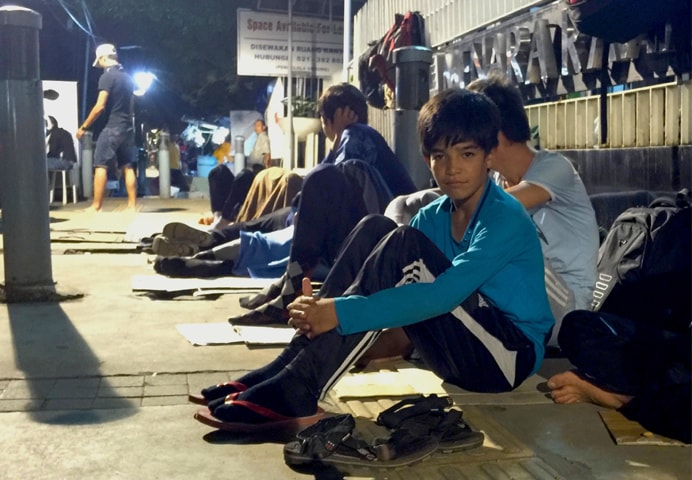Hazaras outside the Australian embassy in Jakarta wait overnight for the offices to open the next morning | Jonathan Vit/IRIN