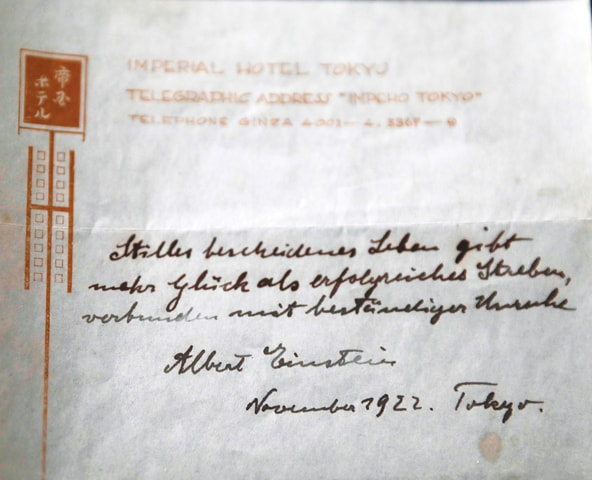 Jerusalem: One of the two notes written by Albert Einstein in 1922 on hotel stationery from the Imperial Hotel in Tokyo.—AFP