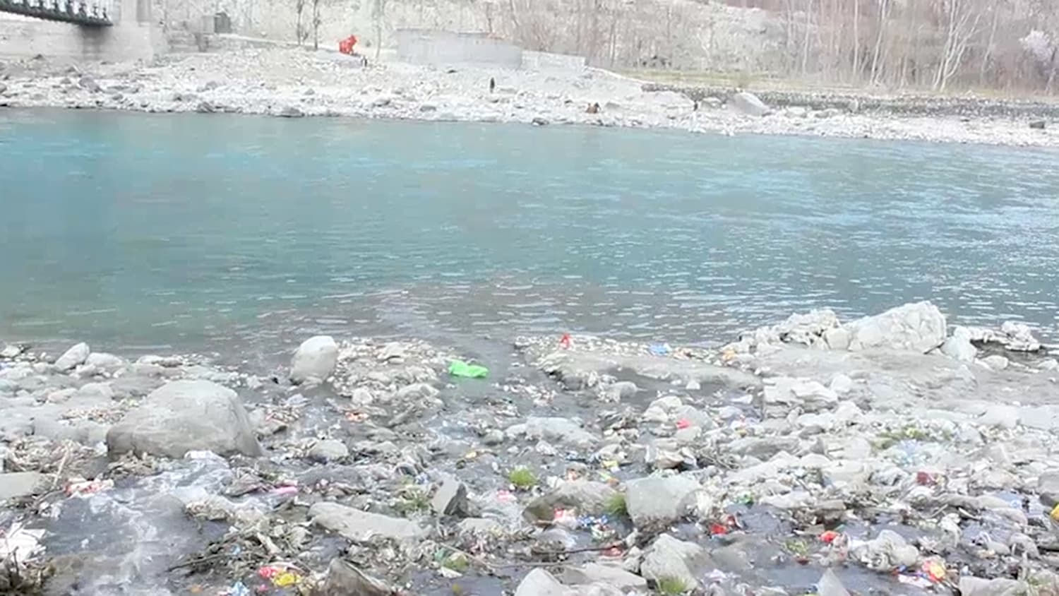 The once potable Gilgit River is now contaminated by garbage from the banks and wastewater from the city.