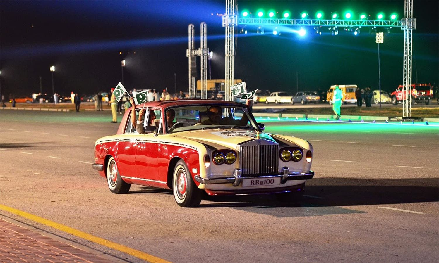A vintage Rolls Royce is seen during the rally.— Photo: ISPR