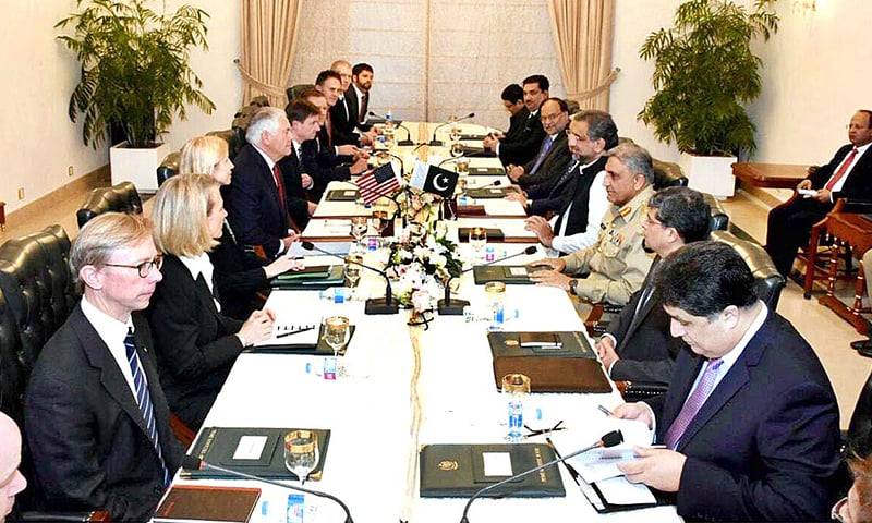 US Secretary of State Rex Tillerson holds talks with the Pakistani delegation led by Prime Minister Shahid Khaqan Abbasi at PM House on Tuesday.— APP
