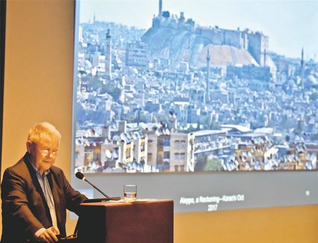 DR Ross Burns speaks at AKU on Wednesday.—Fahim Siddiqi / White Star