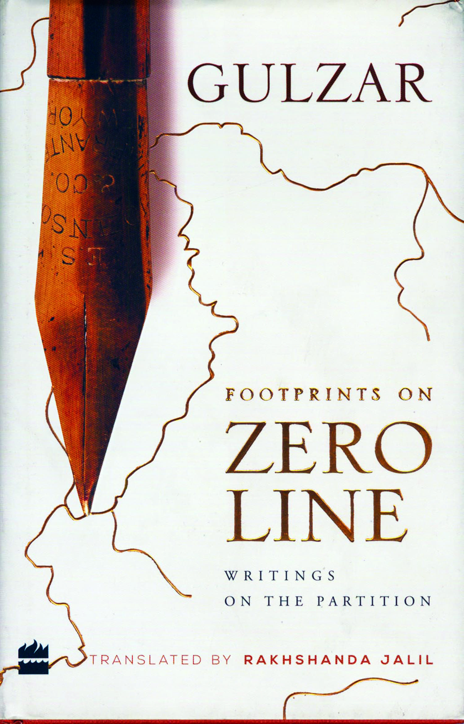 The cover of Footprints on Zero Line – Writings on the Partition, a collection of Gulzar's poems and short stories on the theme of Partition.