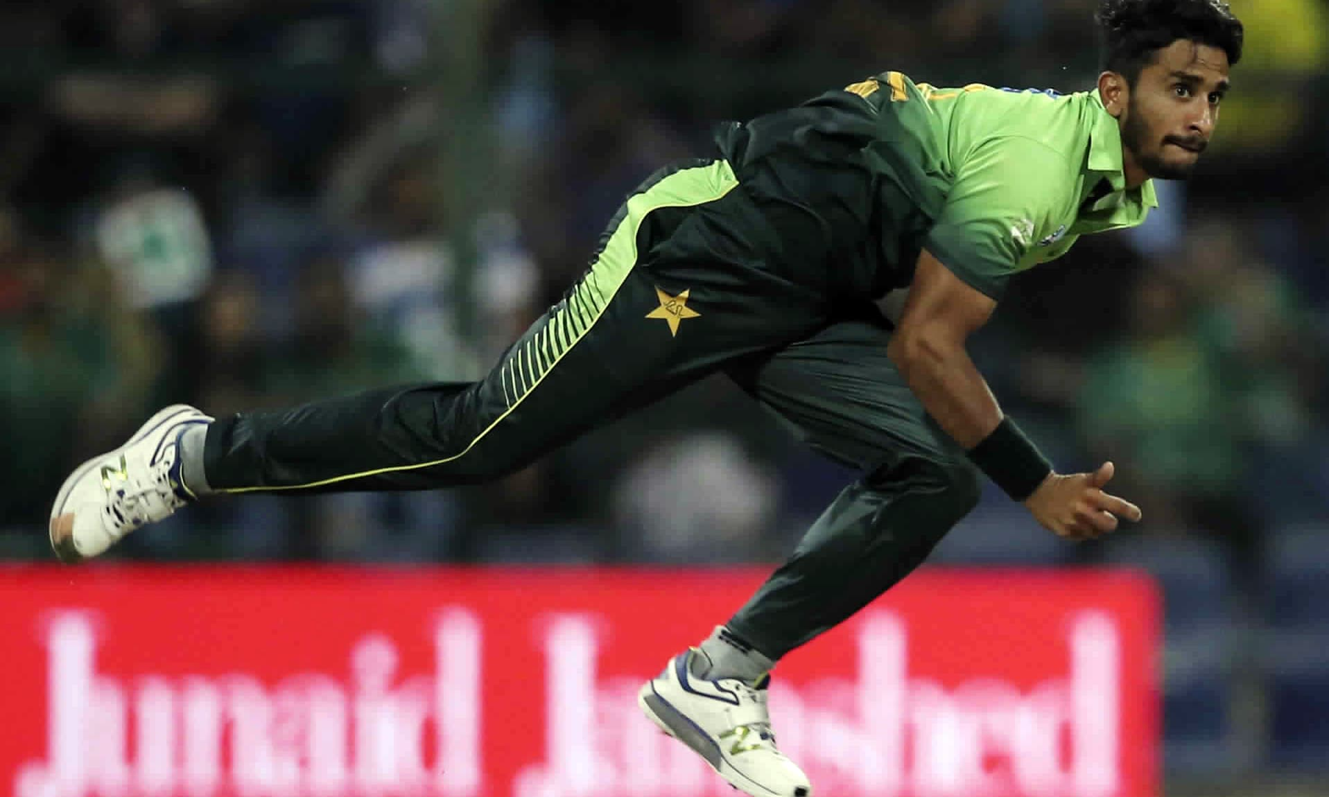 Hassan Ali bowls during the first T20 match. —AP