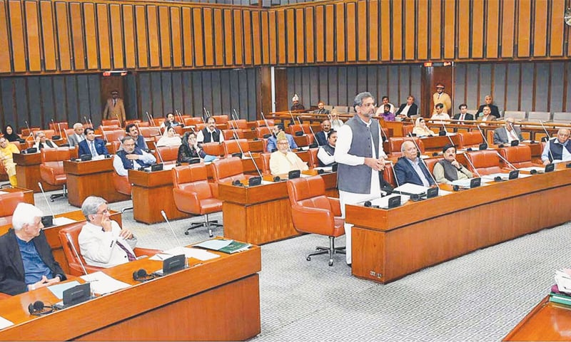 PRIME Minister Shahid Khaqan Abbasi addressing the Senate on Thursday.—APP