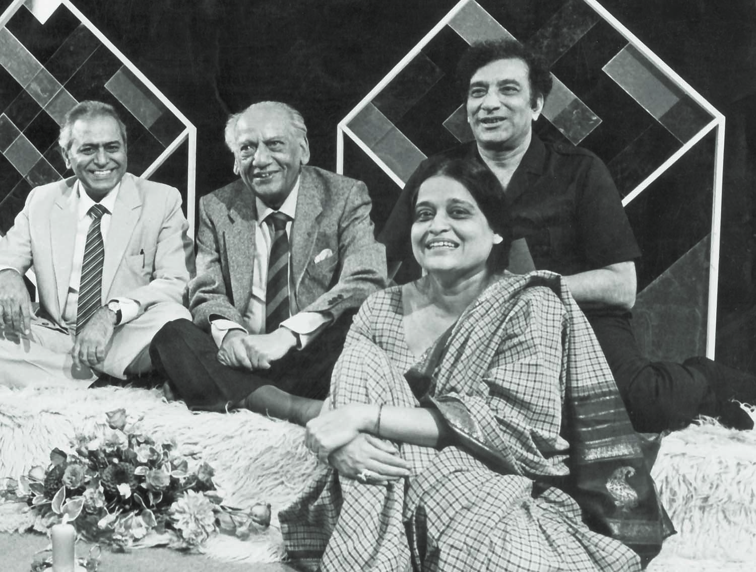 LONDON was a favourite spot for intellectuals who tried to stay away from Zia's Pakistan. Seen here is the iconic Faiz Ahmed Faiz at the Urdu Markaz Mushaira that was organised by the BBC in the 1980s. He is flanked here by Ahmed Faraz and Zehra Nigah on the right and Gopi Chand Narang on the left. | Photo: Faiz Ghar Archives.