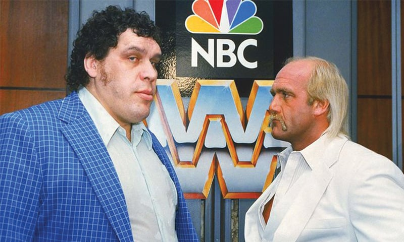 """Andre the Giant and Hulk Hogan in 1988. The 7'4"""" wrestler's size was caused by acromegaly, a hormonal disorder   AP"""