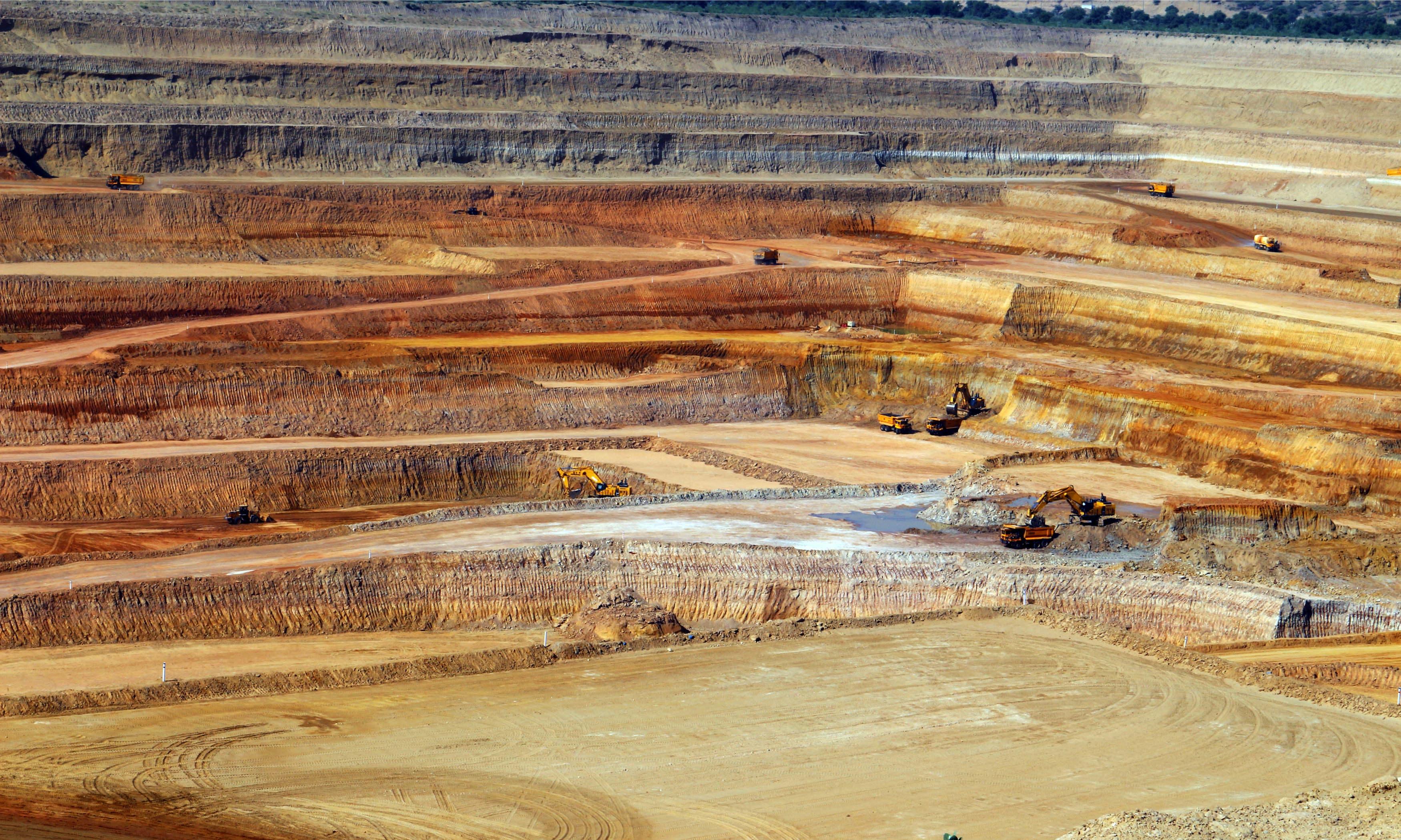 Digging underway at open-pit mine in Thar Coal Block-II.