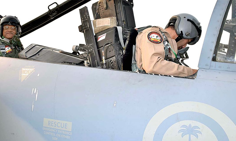 Air Chief Marshal Sohail Aman ready to fly a mission in F-15 aircraft of Royal Saudi Air Force. — APP