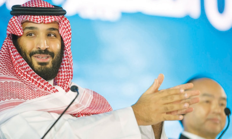 SAUDI Crown Prince Mohammed bin Salman speaks at the opening ceremony of the future investment initiative conference in Riyadh on Oct 24.—AP