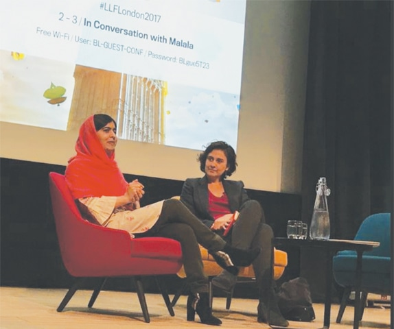 Kamila Shamsie in conversation with Malala Yousafzai at the festival.—Mirza Waheed/Twitter