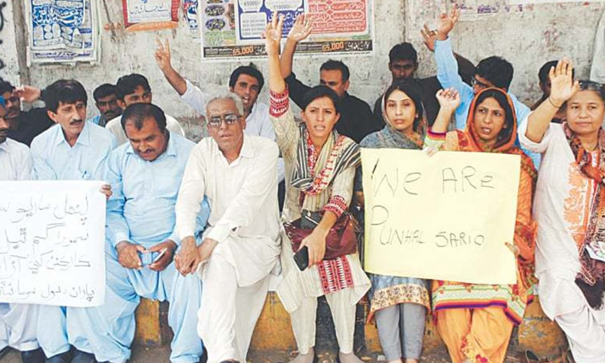 Activists protest Punhal Sario's disappearance | Photo courtesy: Dawn.com