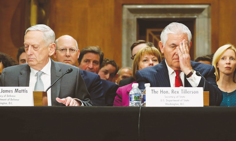 US Defence Secretary James Mattis and Secretary of State Rex Tillerson testify about authorisations for the use of military force before the Senate Foreign Relations Committee in Washington on Monday. —Reuters