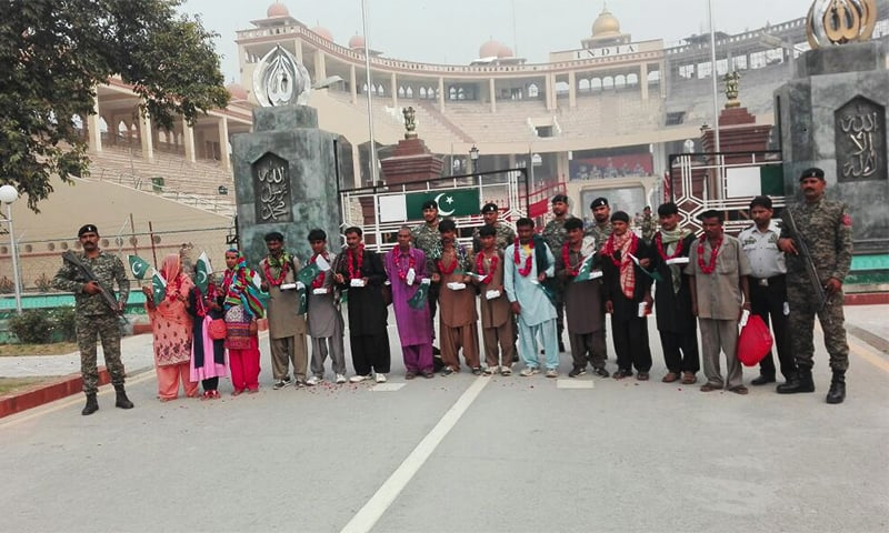 The 13 Pakistani prisoners who were returned to Pakistan today via the Wagah-Attari border. ─ Photo by author