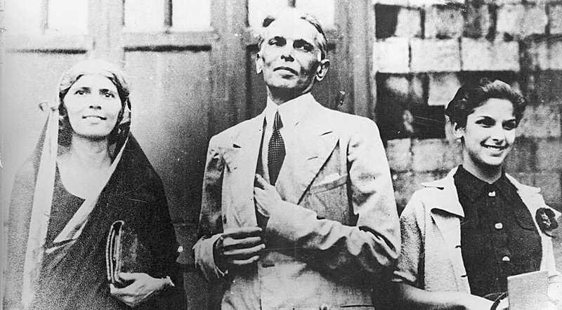 Mr Jinnah with his sister Fatima and daughter Dina.—Courtesy National Archives Islamabad