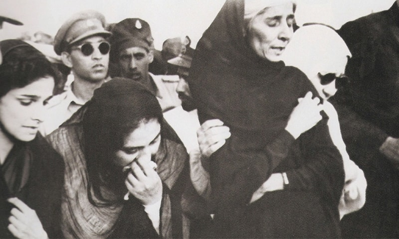 Dina Wadia (extreme left), Quaid-i-Azam Mohammad Ali Jinnah's only daughter, flew in from Delhi to attend her father's funeral. Seen on her left are Lady Ghulam Hussain Hidayatullah, Miss Fatima Jinnah, and Lady Nusrat Haroon. All were clearly and understandably unable to hold back their tears as they grieved Quaid-i-Azam Jinnah's death.—Courtesy The Press Information Department, Ministry of Information, Broadcasting & National Heritage, Islamabad.