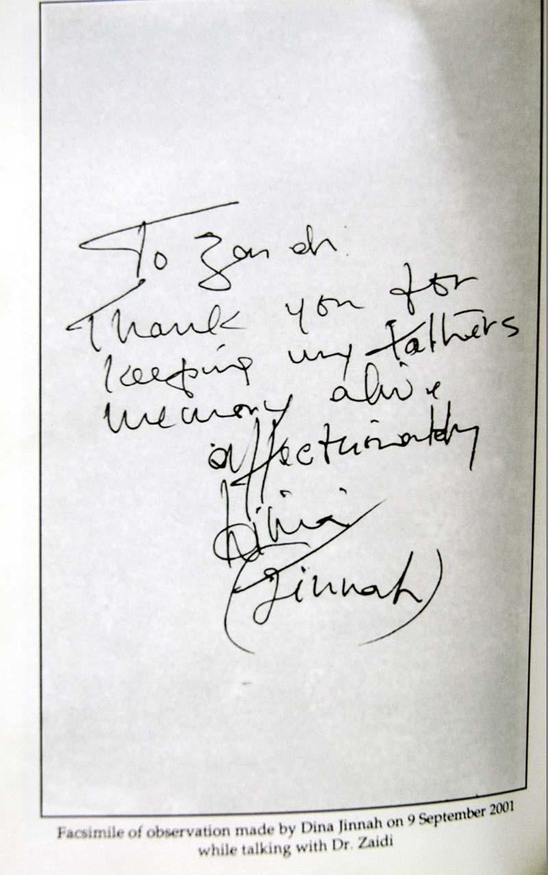 ڈاکٹر زیدی کی کتاب پر درج دینا جناح کے دستخط اور شکریہ ادائیگی—سید عمران