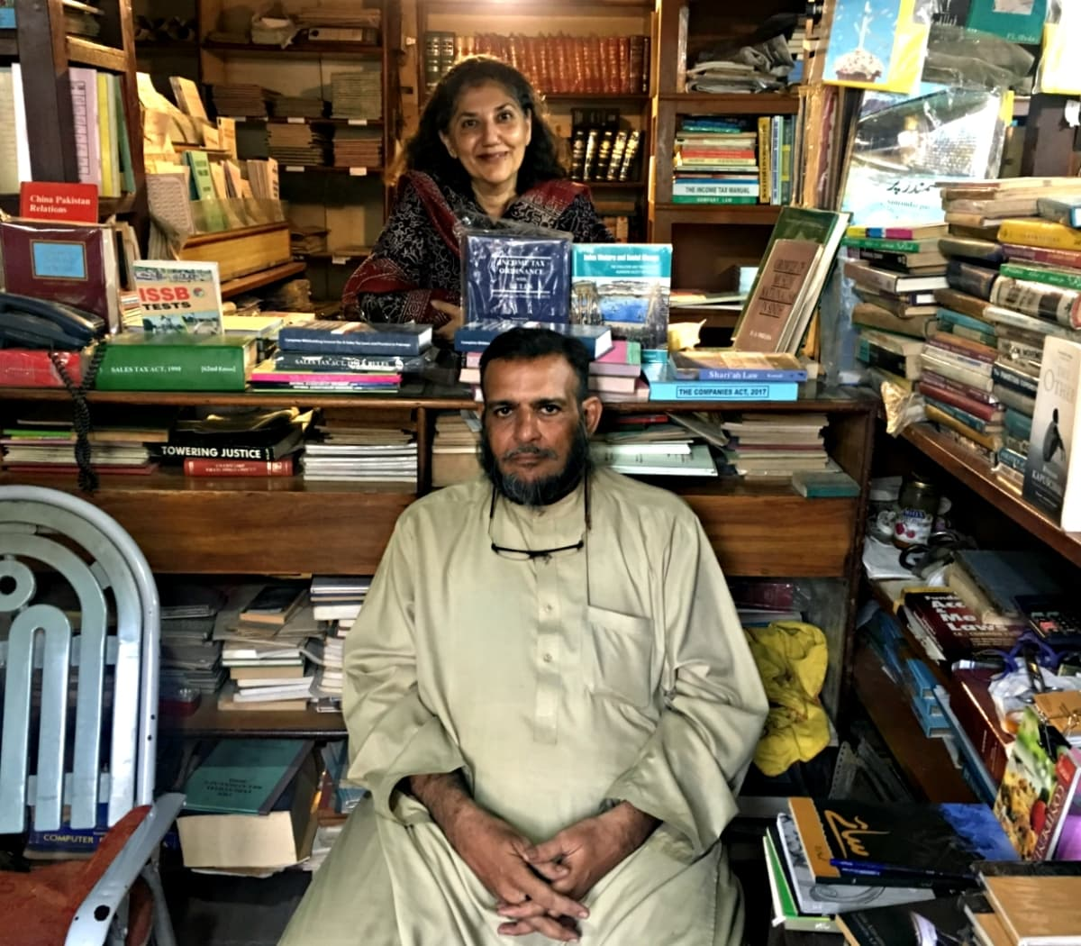 Maniza and Zafar in the bookstore that brought them together